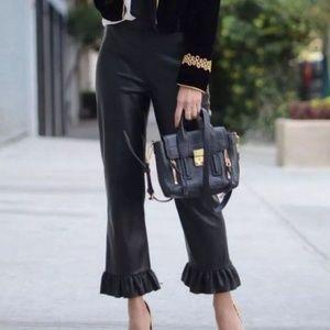 nwt | Zara Woman Faux Leather Ruffle Pants